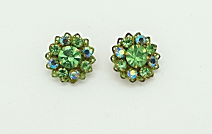 Green enamel and rhinestone earrings (Image1)