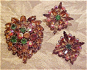 Multi colored rhinestone pin & Earrings (Image1)