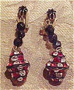 Black bead and rhinestone earrings (Image1)