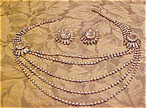 4 strand rhinestone necklace & Earrings (Image1)