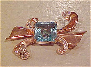 Sterling vermeil bow pin (Image1)