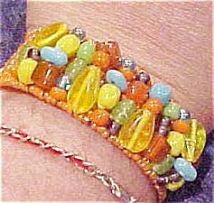 Orange beaded cuff (Image1)