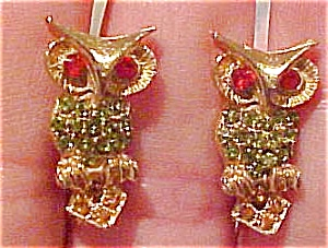 Owl earrings with rhinestones (Image1)