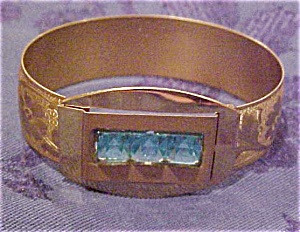 Engraved bangle with blue stones (Image1)