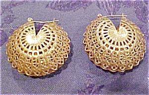 Goldtone puffed filligree earrings (Image1)