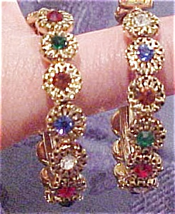 Hoop earrings with rhinestones (Image1)