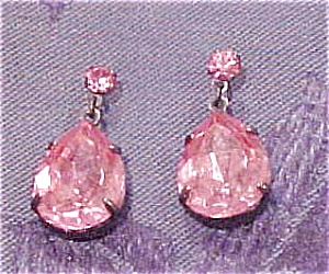 Pink rhinestone earrings (Image1)