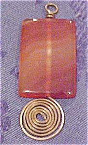 Stone and copper wire pendant (Image1)