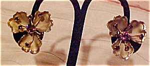 Flower earrings with rhinestones (Image1)