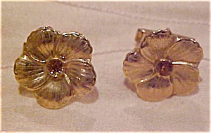Flower cufflinks with rhinestones (Image1)