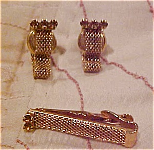 Swank snap cufflinks and tie bar (Image1)