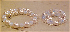 Faux Pearl And Bead Necklace & Bracelet