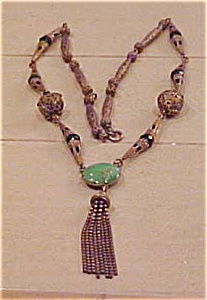 Czechoslovakian Necklace With Green Glass