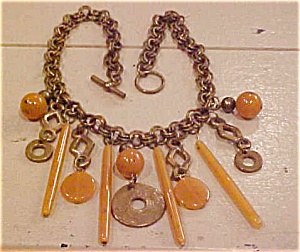 Brass necklace with amber (Image1)