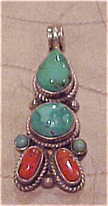 Native American sterling & Turquoise pendant (Image1)