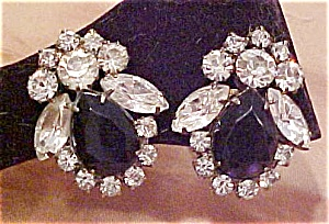 Black and clear rhinestone earrings (Image1)