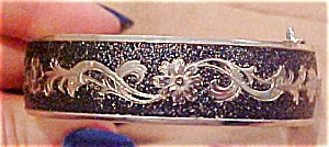 Silvertone bangle with Black enameling (Image1)