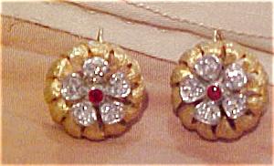 Floral earrings with rhinestones (Image1)