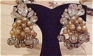 Dangling rhinestone & Faux pearl earrings (Image1)