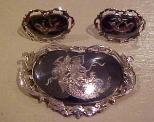Siam silver pin and earring set (Image1)