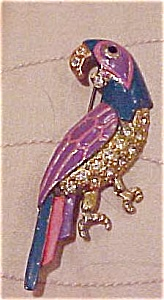 Enameled Parrot pin with rhinestones (Image1)