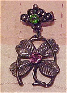 4 leaf clover pin with rhinestones (Image1)