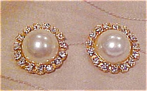 2 faux pearl and rhinestone buttons (Image1)
