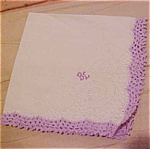 Handkerchief with lavendar enbroidered edging (Image1)