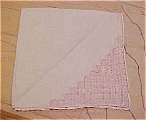 Handkerchief with pink embroidery (Image1)