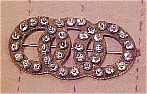 Brass pin with rhinestones (Image1)