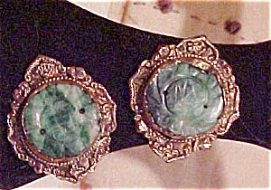 Copper earrings with green glass (Image1)