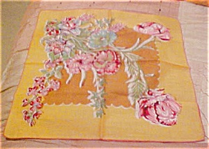 Mustard colored handkerchief with flowers (Image1)