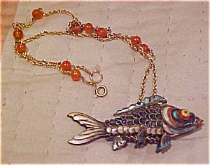 Enamel Fish Charm On Necklace