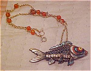 Enamel Fish charm on necklace (Image1)