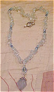 Contemporary blue glass bead necklace (Image1)