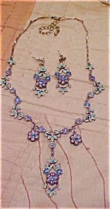 enameled floral necklace and earrings (Image1)