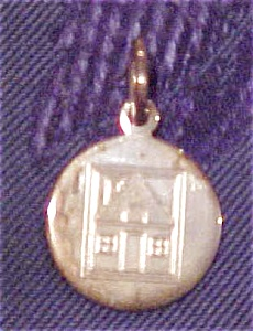 Sterling charm with engraved house (Image1)