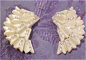 Celluloid earrings with rhinestones (Image1)