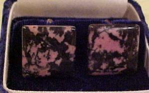Cufflinks with pink/blk stone (Image1)