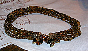 Topaz and brown glass bead necklace (Image1)