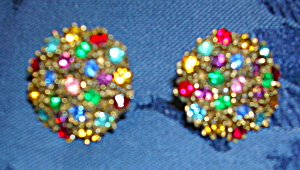 Multicolored rhinestone earrings (Image1)