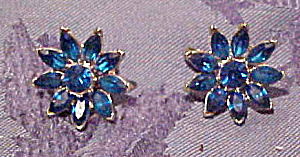 Trifari blue flower rhinestone earrings (Image1)