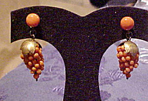 Victorian Coral Grape Design Earrings