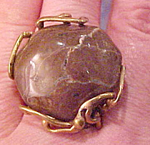 Modernist brass and stone ring (Image1)