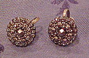 Victorian Steel Cut Button Earrings