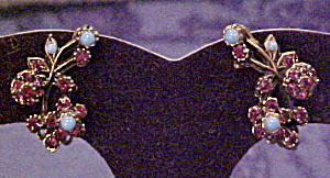 Floral earrings with rhinestones (Image1)