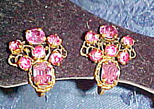 Czechoslovakian pink rhinestone earrings (Image1)