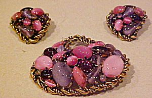Pink and purple pin and earring set (Image1)