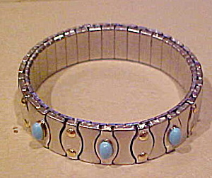 Stainless steel bracelet w/faux turquoise (Image1)