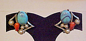 Earrings with blue and orange plastic (Image1)